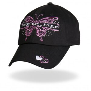 Black Forever Free Pink Butterfly Hat