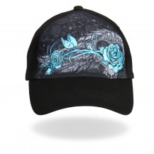 Black and Turquoise Angle rose hat