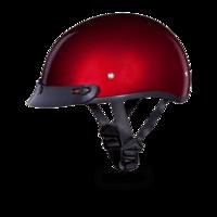 D.O.T Daytona Skull Cap With Visor Black Cherry