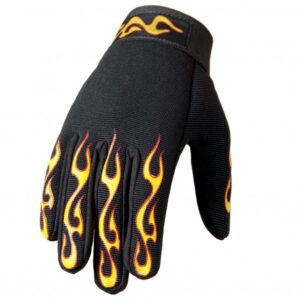 Mechanics Gloves Yellow and Red Flame