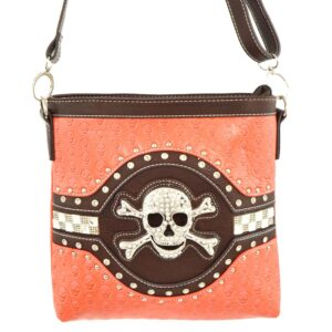 Orange Rhinestone Skull Crossbody Purse