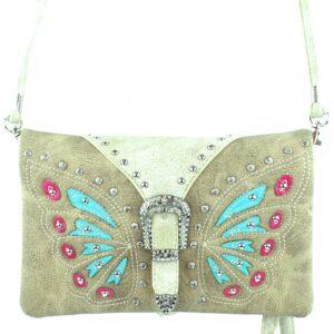 Tan Butterfly Buckle Crossbody Style Wallet